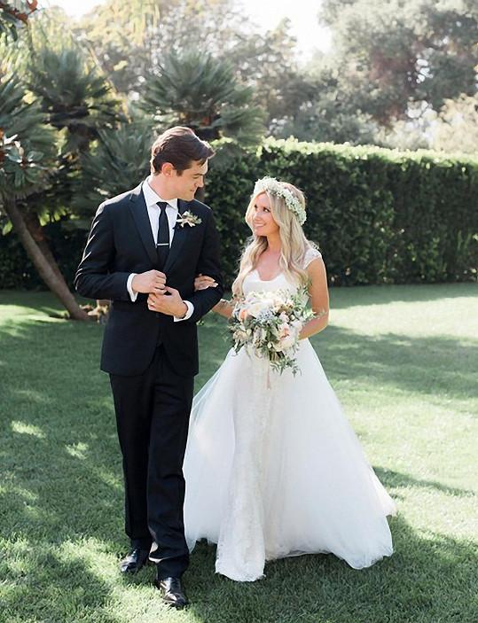 Seriálová hvězda se svým manželem.