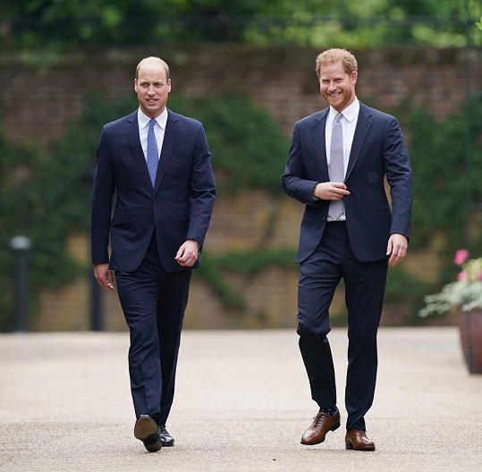 Bratři dorazili do zahrad Kensingtonského paláce společně a oběma to slušelo.