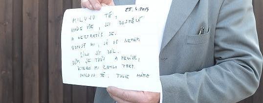 Ivetin dopis na rozloučenou synu Arturovi.