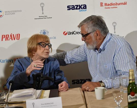Jiří Bartoška s uměleckou poradkyní MFF KV Evou Zaoralovou.