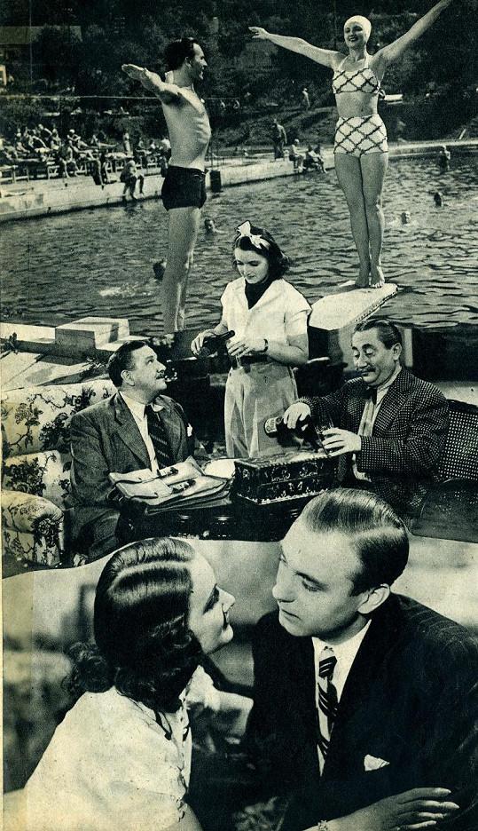 Koláž fotografií z filmu Poznej svého muže (1940). Ostřílenými partnery herečce byli Jaroslav Marvan, Jan Pivec a Raoul Schránil.