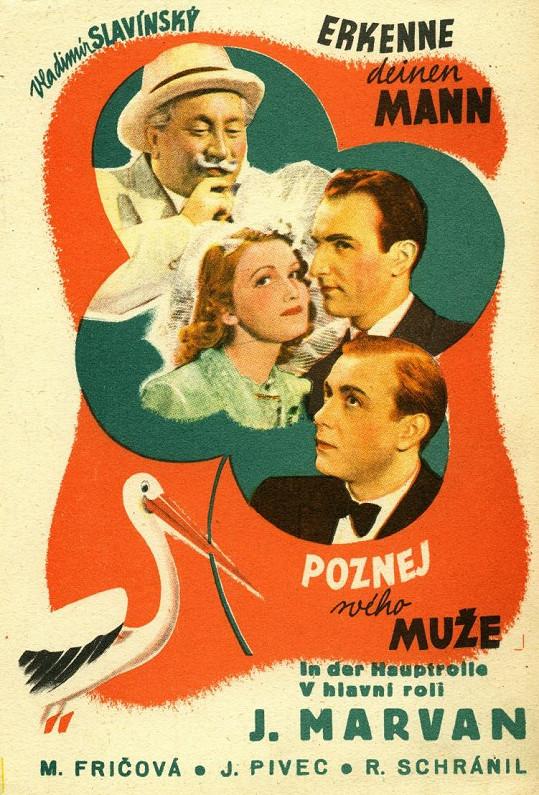 Platkát k filmu Poznej svého muže (1940), kde hrála Marta Fričová jedinou hlavní roli.