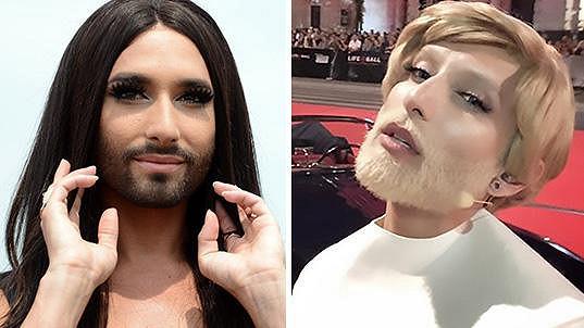 Conchita Wurst jako brunetka a blondýna