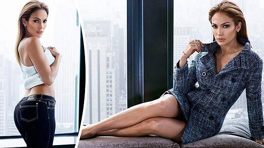 Jennifer Lopez předvádí vlastní módní kolekci.