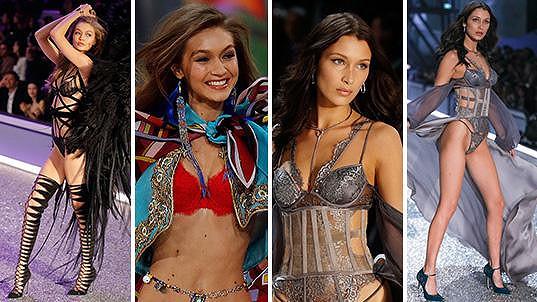 Gigi (vlevo) a Bella Hadid se staly hvězdami přehlídky Victorias Secret.