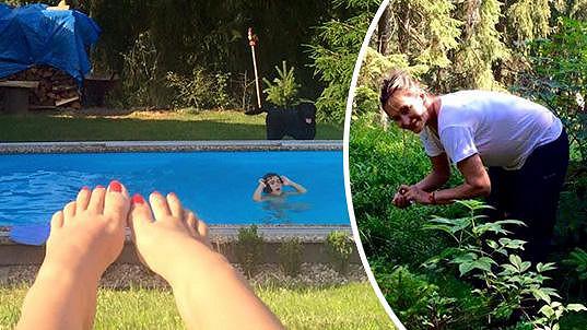 Absolonová relaxuje u bazénu.