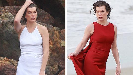 Milla Jovovich tentokrát focení na pláži kvůli chladnému větru protrpěla.