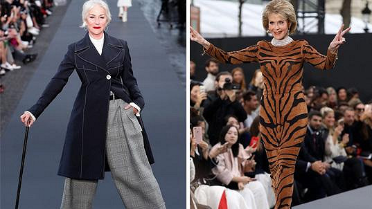Helen Mirren (72) a Jane Fonda (79) předváděly v Paříži kousky z kolekce L´Oréal.