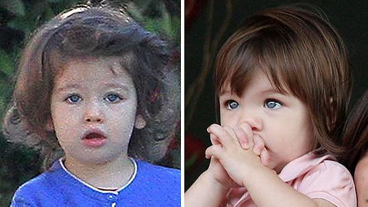 Vlevo Wyatt Isabelle Kutcher (2) a vpravo Suri Cruise jako malá holčička.
