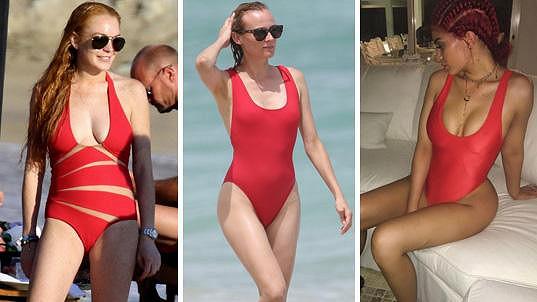 Lindsay, Diane, Kylie: Na jednodílné červené plavky vsadily celebrity napříč věkovými kategoriemi