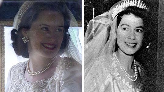 Reálná královna nevěsta (vpravo) a ta seriálová