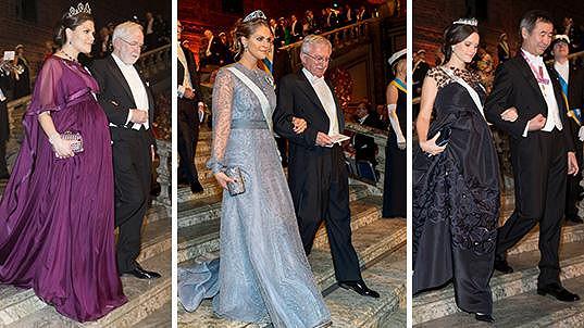 Švédské princezny doprovodily laureáty Nobelových cen.