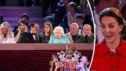 Vévodkyně z Cambridge se výstřelů pořádně lekla, královna nehnula brvou.