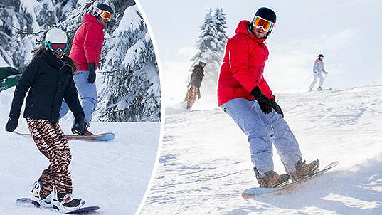 Agáta Prachařová s manželem brázdili svahy na snowboardu.