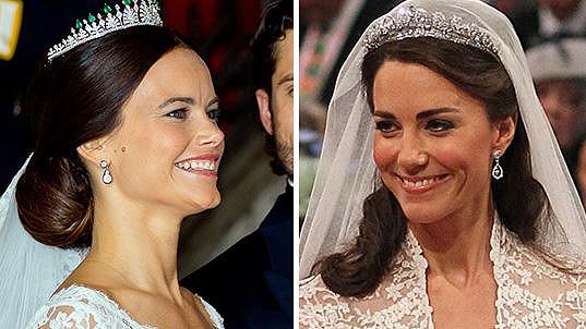 Švédská i britská princezna zvolily na svůj velký den podobné šaty i korunky.
