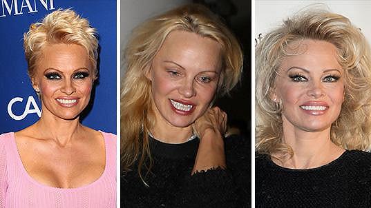 Pamela Anderson před padesátkou poprvé ve své kariéře sází na přirozenost (uprostřed).