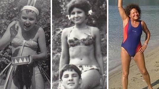 Jitka Zelenková v plavkách. Fotky jsou z let 1963, 1964 a 2015.