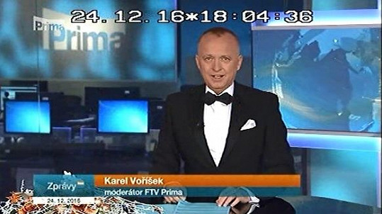 Karel Voříšek moderoval na Štědrý večer sám už loni.