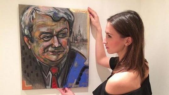 Lucie Gelemová namalovala předsedu KSČM Vojtěcha Filipa.