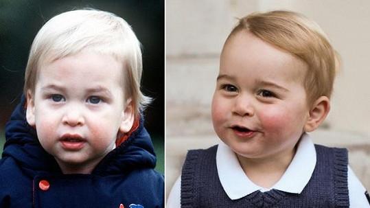 Princ William a jeho syn George v královské modři.