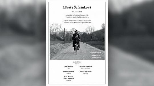 Rodina Libuše Šafránkové nedávno zveřejnila parte. Je na něm herečka na snímku z dětství.
