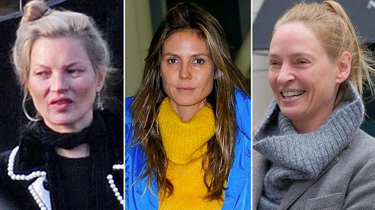 Celebrity bez make-upu: Kate Moss, Heidi Klum a Uma Thurman (zleva)