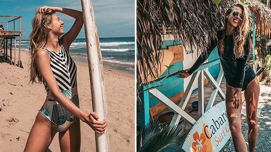 Natálie Kotková předvedla svou štíhlou postavičku v plavkách.