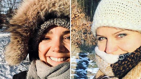 Lucie Vondráčková a Lucie Šafářová na zimních fotkách