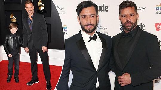 Ricky Martin dorazil na červený koberec v doprovodu syna Mattea, kterého vychovává s partnerem Jwanem.