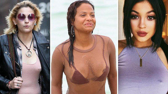 Paris Jackson, Christina Milian a Kylie Jenner (zleva) si nechaly propíchnout bradavky.