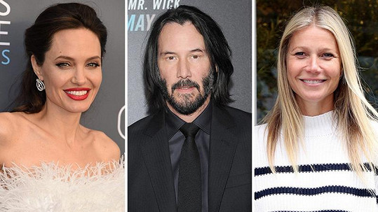 Angelina Jolie, Keanu Reeves a Gwyneth Paltrow