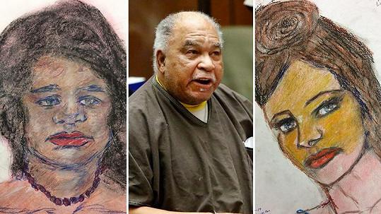 Samuel Little (uprostřed) maluje portréty svých obětí.