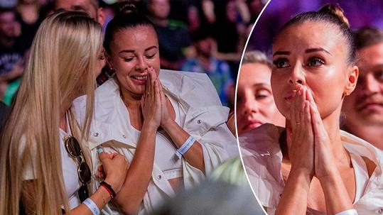 Monika Bagárová na zápase svého přítele ukázala velmi emotivní reakce.
