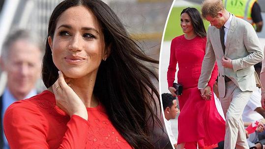 Meghan to v červených šatech nevychytala.