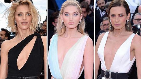 Modelky na červeném koberci v Cannes