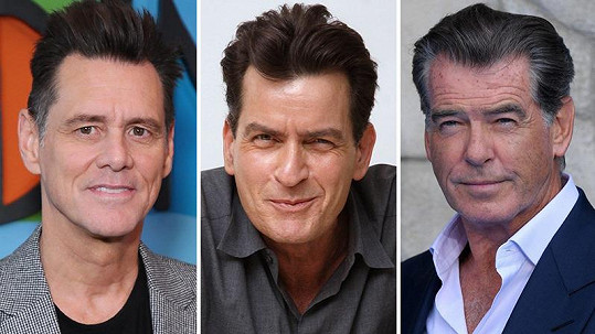 Zleva Jim Carrey, Charlie Sheen a Pierce Brosnan