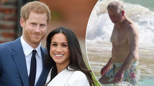 Nejen budoucí britský král byl zvěčněn v plavkách.