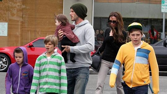 Celá rodinka Beckhamových.