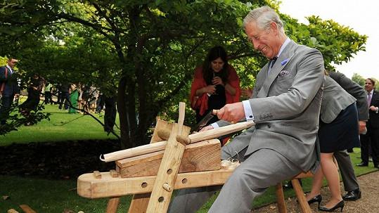 Princ se snažil opracovat dřevo a vysvětloval malajskému králi, jak na to.