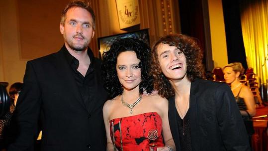 Lucie Bílá s přítelem a synem.