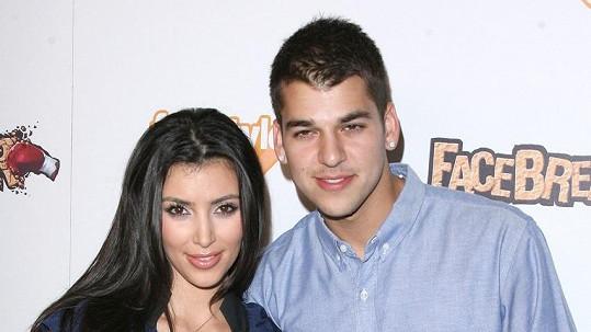 Rob se sestrou Kim na snímku z roku 2008