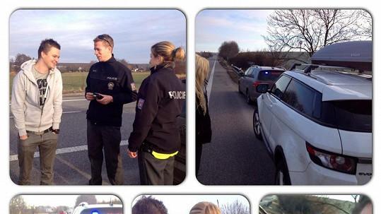 Kazma s přítelkyní Kateřinou Kristelovou měli cestou do Špindlerova mlýna problém s policií.