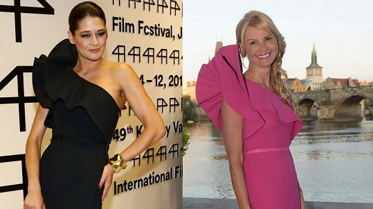 Petra Faltýnová oblékla stejný typ šatů jako před měsícem Kotvalová.