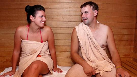 Farmář Petr v sauně s Petrou