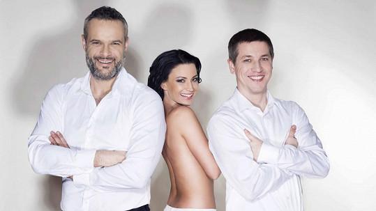 Gábina Partyšová s Jaro Slávikem a Jirkou Harnachem.