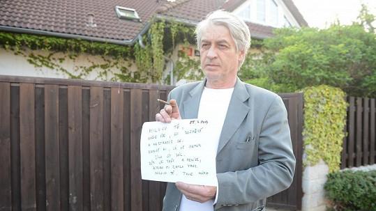 Josef Rychtář ukázal médiím dopis pro Artura
