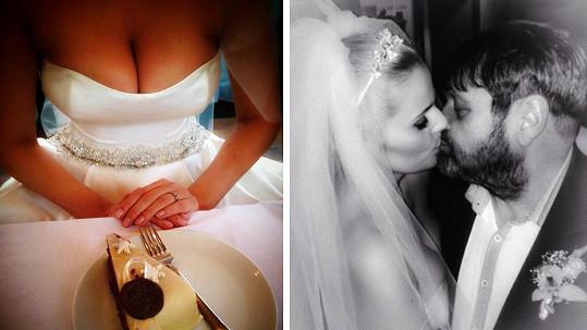 Dekolt nevěsty Ornelly a její první pusa manželovi Pepovi Koktovi