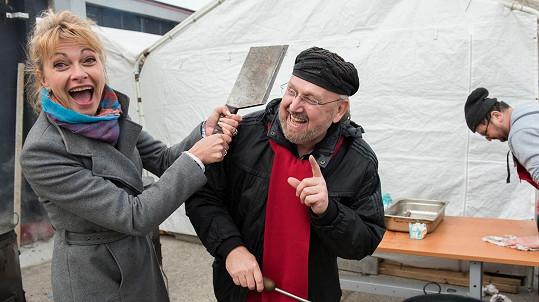 Jana Hubinská a Jozef Oklamčák na slovenské zabijačce