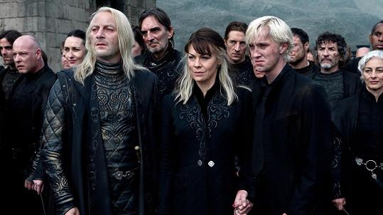 Helen McCrory a Tom Felton jako Narcissa a Draco Malfoyovi