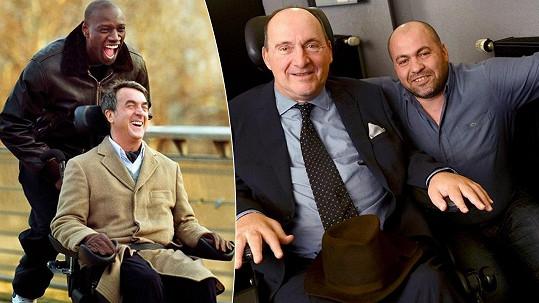 Vlevo snímek z populárního filmu, vpravo skutečný Philippe a jeho ošetřovatel.